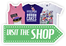 Visit the Cakes With Faces shop for cute t-shirts and accessories for men, women, babies and your home