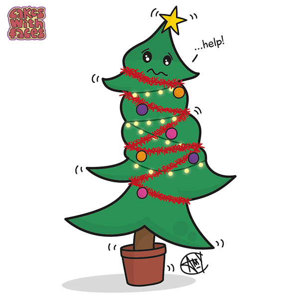 Cute christmas drawings cakes with faces for Cute christmas tree drawing